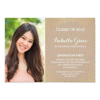 PHOTO GRAD PARTY mini gold confetti eco kraft 5x7 Paper Invitation Card