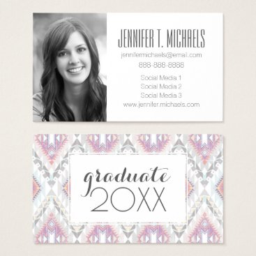 Aztec Themed Photo Graduation | Abstract Geometric Aztec Business Card