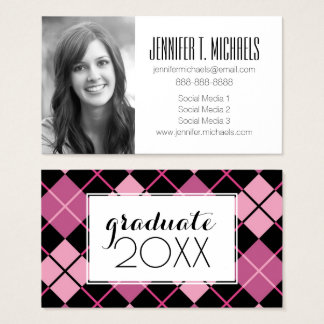 Photo Graduation | Argyle Pattern Business Card