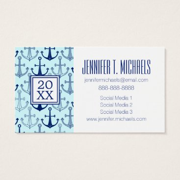 Beach Themed Photo Graduation | Blue Anchor Pattern Business Card