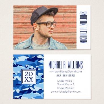 Beach Themed Photo Graduation | Blue Shark Pattern Business Card
