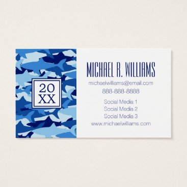 Beach Themed Photo Graduation | Blue Shark Pattern Business Card