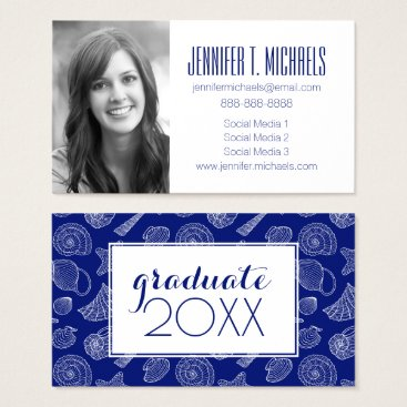 Beach Themed Photo Graduation | Bright Blue Shell Pattern Business Card