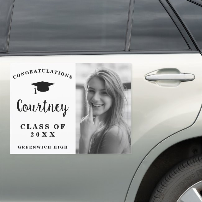 Photo Graduation Cute Black White Girl Graduate Car Magnet