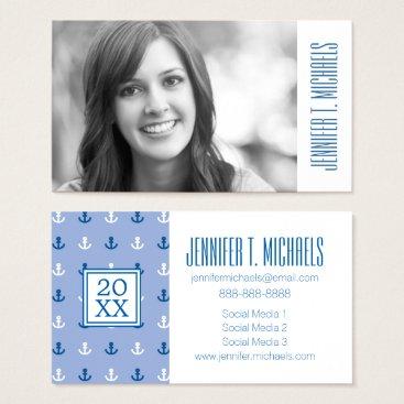 Beach Themed Photo Graduation | Cute Little Anchor Pattern Business Card