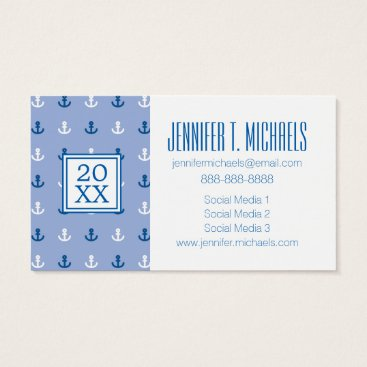 Beach Themed Photo Graduation | Cute Little Anchor Pattern Business Card