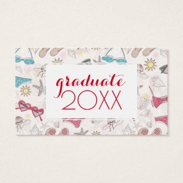 Beach Themed Photo Graduation | Cute Summer Pattern Business Card