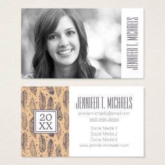 Photo Graduation | Ethnic Feather Outline Business Card