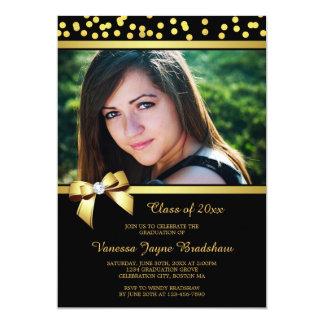 Photo Graduation Faux Gold Bow Confetti Black Card