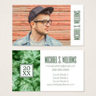Photo Graduation | Green Marble Business Card
