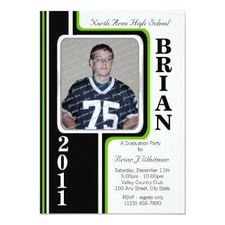 Photo Graduation/ Green Stripe 5x7 Paper Invitation Card