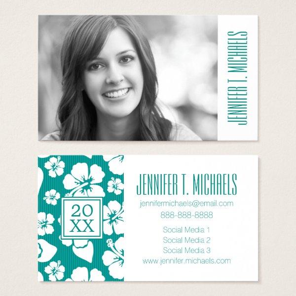 Photo Graduation | Hawaiian Hibiscus Flowes Business Card
