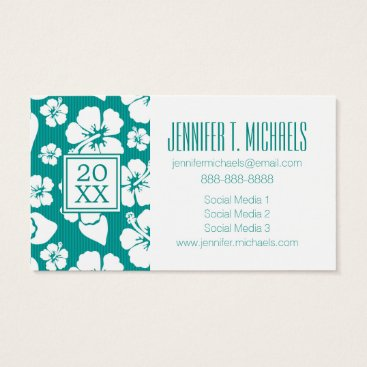 Beach Themed Photo Graduation | Hawaiian Hibiscus Flowes Business Card