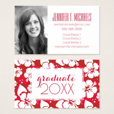 Beach Themed Photo Graduation | Hibiscus Flowers Pattern Business Card