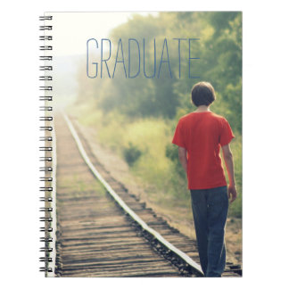 Photo Graduation High School Graduate Modern Blue Spiral Notebook