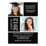 """Photo Graduation Invitation ~Classy Black & White 5"""" X 7"""" Invitation Card"""