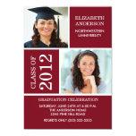 "Photo Graduation Invitation ~Classy Maroon & White 5"" X 7"" Invitation Card"