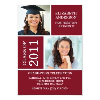 Photo Graduation Invitation ~Classy Maroon & White