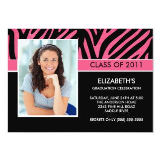Photo Graduation Invitation ~Trendy Pink Zebra