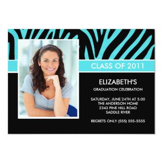 Photo Graduation Invitation Trendy Turquoise Zebra
