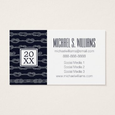 Beach Themed Photo Graduation | Marine Knots Pattern Business Card