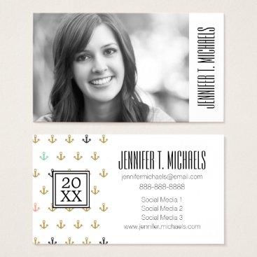 Beach Themed Photo Graduation | Mini Anchor Pattern Business Card
