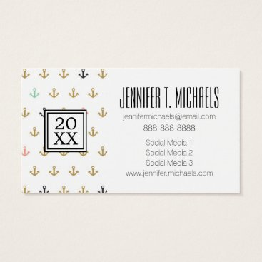 Beach Themed Photo Graduation | Mini Anchor Pattern Business Card