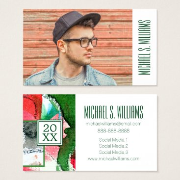 Beach Themed Photo Graduation | Mixed Media Watercolor Business Card