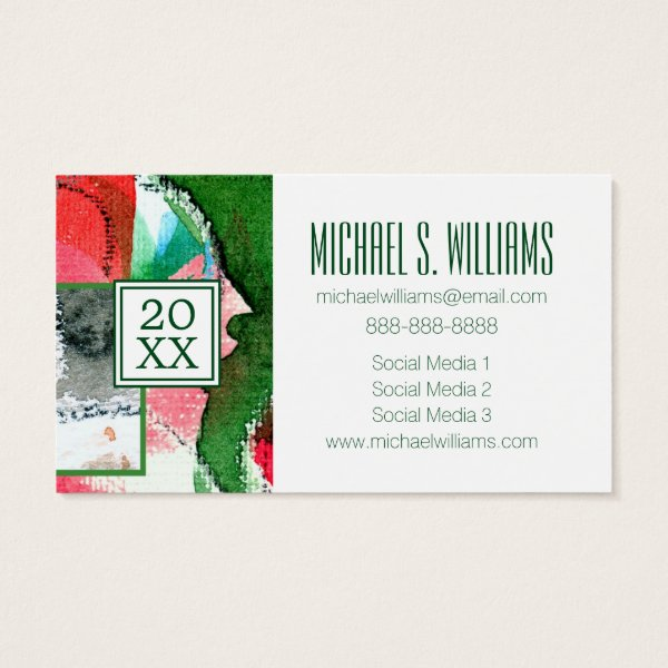 Photo Graduation | Mixed Media Watercolor Business Card