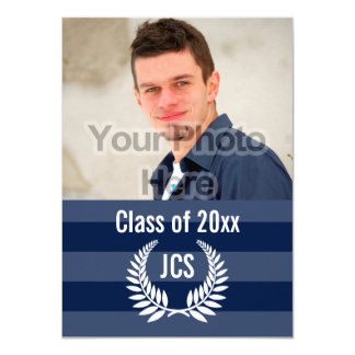 Photo Graduation Monogram Laurel Blue Stripe Card