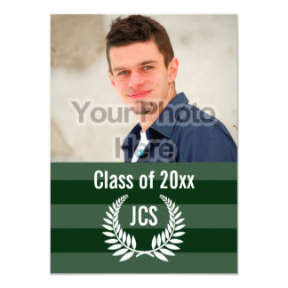 Photo Graduation Monogram Laurel Green Stripe Card