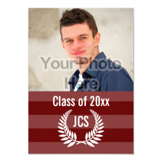 Photo Graduation Monogram Laurel Red Maroon Stripe Card