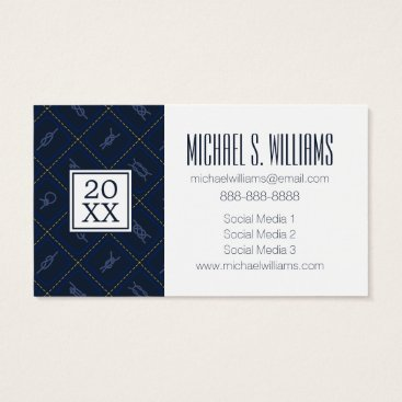 Beach Themed Photo Graduation | Nautical Rope Knot Pattern Business Card