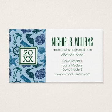 Beach Themed Photo Graduation | Nautical Shades Of Blue Pattern Business Card