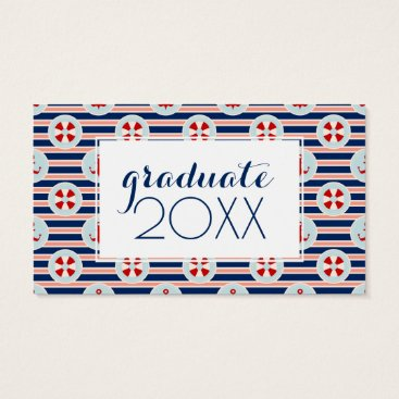 Beach Themed Photo Graduation | Nautical Stripes And Dots Business Card