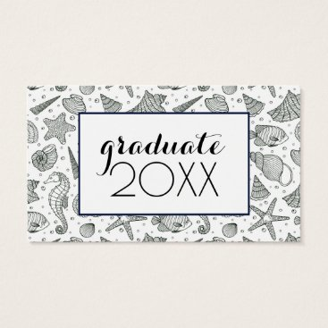 Beach Themed Photo Graduation | Ocean Inhabitants Pattern Business Card