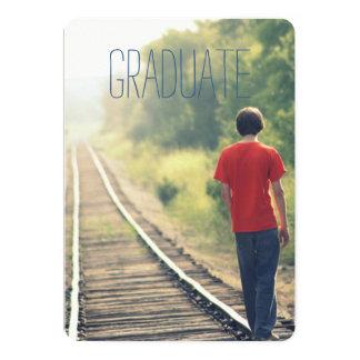 Photo Graduation Party High School Graduate Blue Card