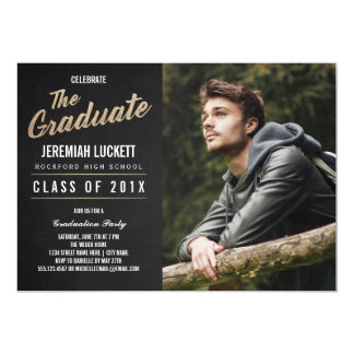 photo graduation party invitation chalkboard - Photo Graduation Invitations