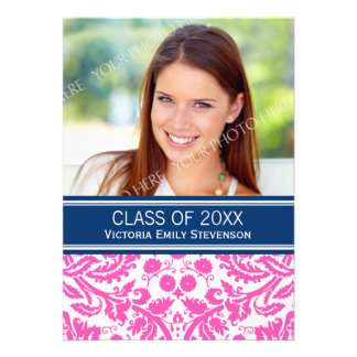 Photo Graduation Party Invitation Pink Blue