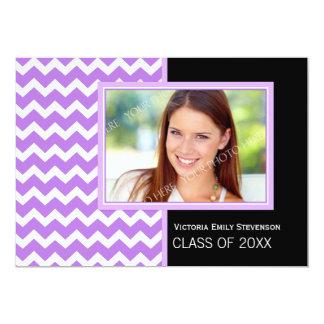 """Photo Graduation Party Invitation Purple Chevron 5"""" X 7"""" Invitation Card"""