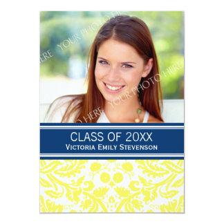 "Photo Graduation Party Invitation Yellow Blue 5"" X 7"" Invitation Card"