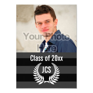 Photo Graduation Party Monogram Laurel Black Card