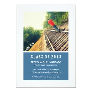Photo Graduation Party Navy Blue White Class 2013 Invitation