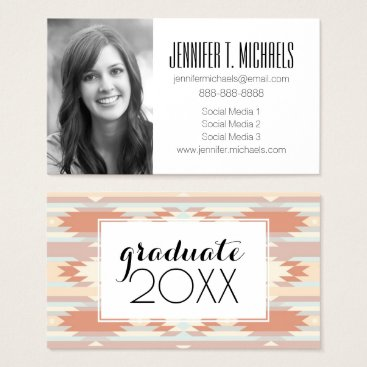 Aztec Themed Photo Graduation | Pattern In Aztec Style Business Card