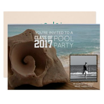 Beach Themed Photo Graduation Pool Party Beach | Class of 2017 Card