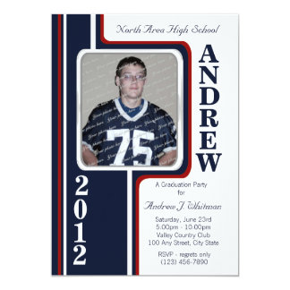 Photo Graduation/ Red and Navy Stripe 5x7 Paper Invitation Card