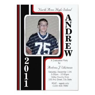 Photo Graduation/ Red Stripe 5x7 Paper Invitation Card