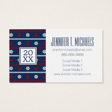 Beach Themed Photo Graduation | Red White And Blue Ocean Business Card
