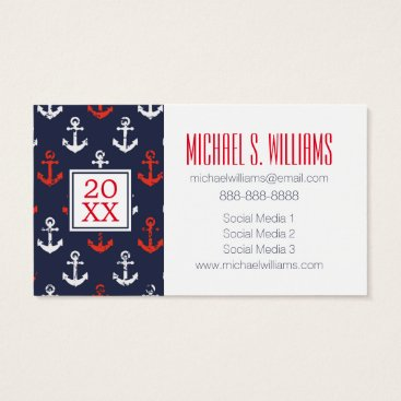 Beach Themed Photo Graduation | Red White & Blue Navy Pattern Business Card