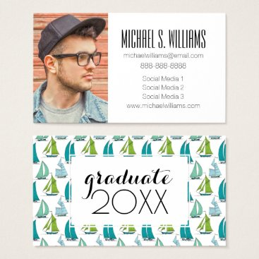 Beach Themed Photo Graduation | Sailboats On The Water Pattern Business Card